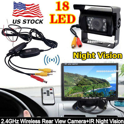 "Wireless 7"" TFT LCD Rear View Monitor+Bus Truck Trailer IR Parking Backup Camera"