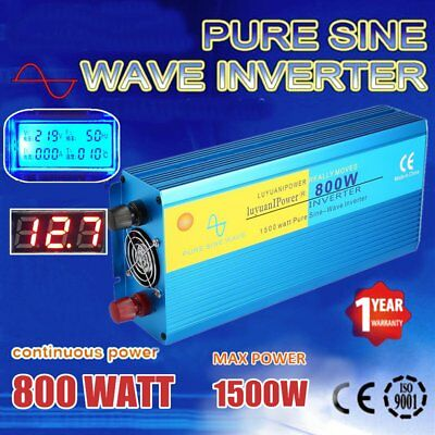800W (1500W MAX) Pure Sine Wave Power Inverter DC12V To AC240V Aluminum Alloy AW
