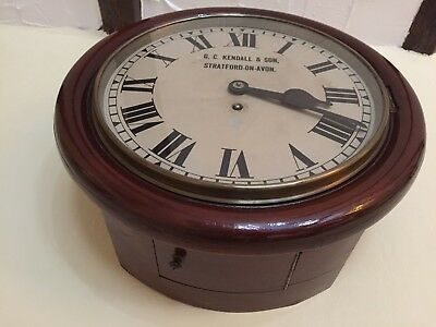 "Antique 12"" Fusee Railway Station clock G.C.Kendall & Son Stratford on Avon"