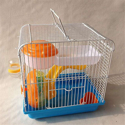 Hamster Gerbil Rat Mouse Small Pet Cage 2 Floor Storey Wheel House Water Bottle