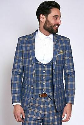 Mens Marc Darcy Check Blazer Slim Tailored Suit Jacket Smart Casual Business