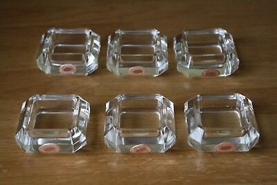 CZECH CRYSTAL 6 SALT CELLARS OPEN SALT DISHES CLEAR 8 SIDES w/ STICKERS FREE SHP