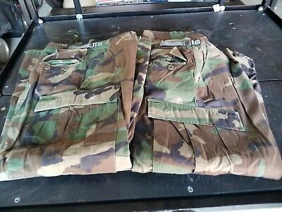 Military BDU Hot Weather Army Woodland Camo Pants Non Ripstop (Medium-Short)