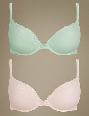 Marks & Spencer M&S 2 Pack Lace Padded Push Up Plunge Sage/Pink Bras 30 E G #