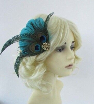Teal Turquoise Green Gold Peacock Feather Fascinator Hair Clip 1920s Vtg 6581