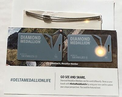 Delta Diamond Medallion Million Miler luggage tags new with loops brag tags