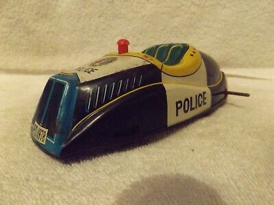 VINTAGE PRESSED STEEL--1950's--BATTERY OPERATED POLICE CAR--TIN--JAPAN--PROJECT