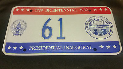 1989 District Of Columbia Inaugural 61 Seal Of Ohio License Plate