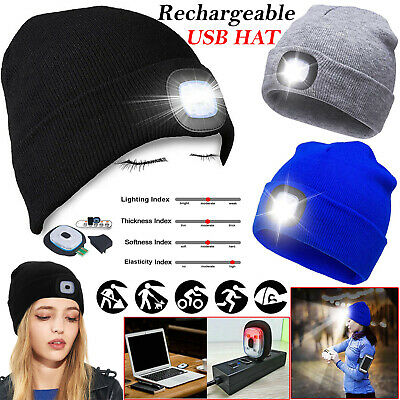Unisex LED Beanie Hat With USB Rechargeable Battery High Powered Head Light LOT