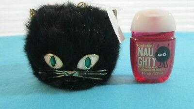 Bath and Body Works Black Cat Furry Hand Sanitizer holder NWT