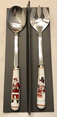 """WILLIAMS SONOMA Twas The Night Before Christmas SERVING SPOON & FORK SET 12"""" NEW"""
