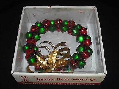 """Jingle Bell Wreath MERRY BRITE 7 1/2"""" Red Green Gold Metal Christmas AWESOME!"""
