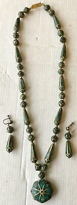 Vintage Siam Turquoise? Enamel? & Sterling Silver Necklace & Earring Set