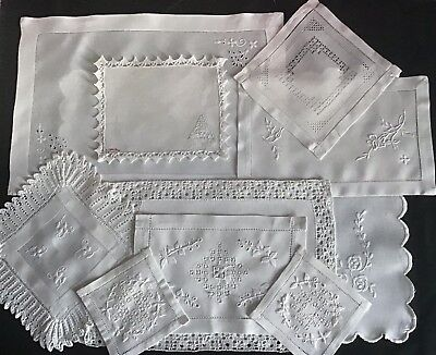 Collection 10 Beautiful Antique Linen White Table Mats~ Lace/whitework