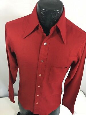 Vtg 70's JcPenney Towncraft Men's RED MoD TAPERED Fit Long Sleeve Dress Shirt S