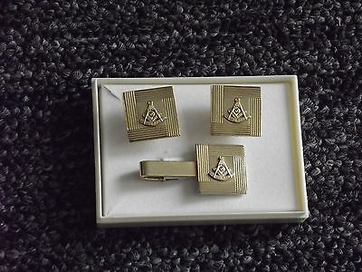Masonic Shriner Cufflinks & Tie Clasp Tack Gold With Sun Symbol 12Kt Gf   (C3