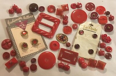 Vtg Lot RED Buttons & Belt Buckles Early Plastic Bakelite Fancy Glass Figural