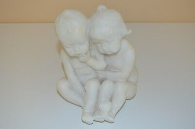 Antique Marble Sculpture of Two Seated Children from the Early 1880's