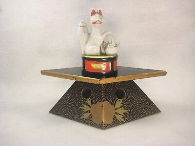 VINTAGE JAPANESE c. 1920 BLACK & GOLD LACQUER WOOD BUDDHIST OFFERING STAND PEONY