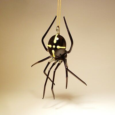 Blown Glass Figurine Art Insect Black with Yellow Cross Hanging SPIDER Ornament
