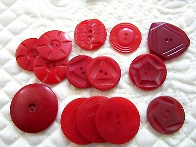Lot of 13 Large Red Mixed Bakelite Buttons