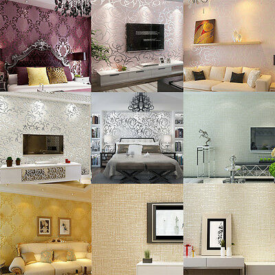10m Modern Luxury Damask Embossed Flocking Roll Paper Bedroom Home Wall Decor