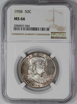 1958 Franklin Half Dollar 50C Ngc Certified Ms 66 Mint State (044)