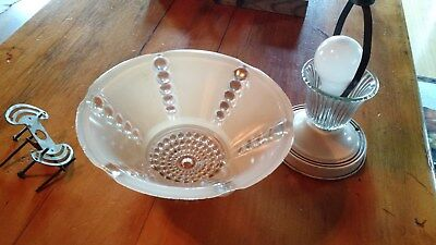 Antique Vintage Ornate Frosted Glass Shade Ceiling Light Fixture Art Deco. Neat!