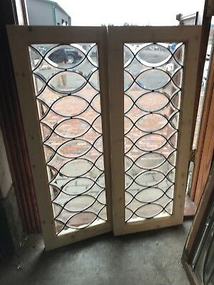 SG 2665 2available price each antique all beveled glass window 16.75x 42.75