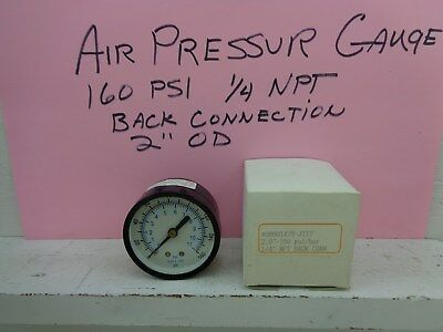 "Quality 1/4"" NPT Air Pressure Gauge 0-160 PSI Back Mount 2"" Face"