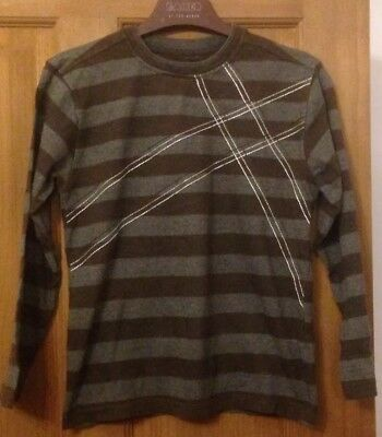 Marks & Spencer Boys Brown & Grey Striped Long Sleeve - Aged 7-8 Yrs