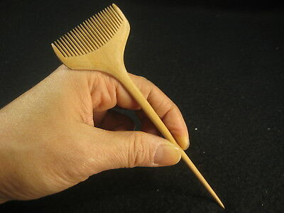 ANTIQUE JAPANESE TAISHO ERA c. 1916 BOXWOOD KANZASHI KUSHI COMB HAIR PIECE