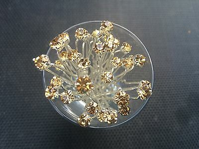 6 Wedding Prom Crystal Gold Diamante Hair Pins Clips Grips