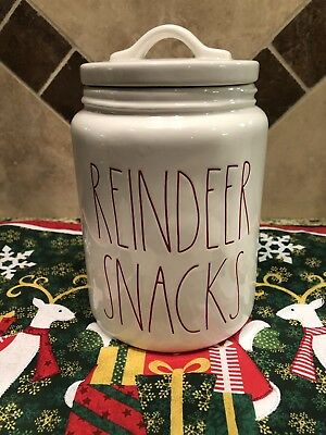 New Rae Dunn by Magenta White 2018 REINDEER SNACKS Christmas Canister Red LL