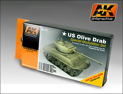 AK INTERACTIVE AK131 US Olive Drab Modulation Acrylic Model Paint Set 6 Colors