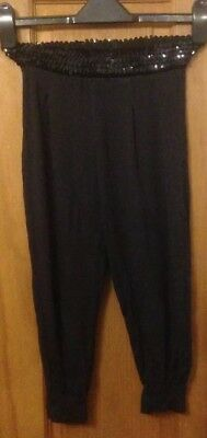Cherokee Girls Black Sequin Trimmed 3/4 Length Trousers - Aged 7-8 Yrs