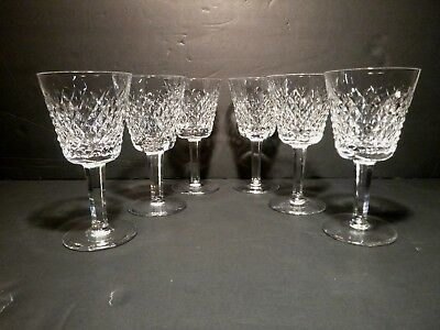 "*VINTAGE* Waterford Crystal ALANA (1952-) 6 Claret Wine 5 7/8"" Made in IRELAND"