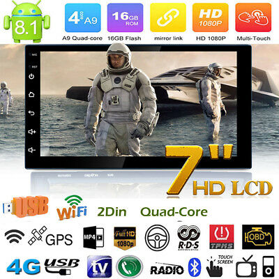 "7"" Double 2Din Android 8.1 HD Quad Core GPS Navi Car Stereo MP5 Player FM Radio"