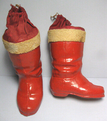 2 Vintage 1930's Germany Paper Mache Santa Boots Candy Containers 6""