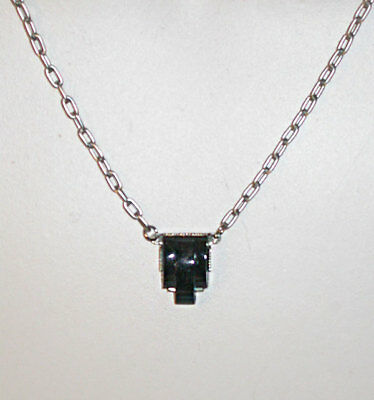 ~DAINTY ANTIQUE CLASSIC 1920s ART DECO STEPPED BLACK GLASS NECKLACE!~~
