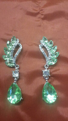 Large Cubic Zirconia Peridot Feathery Teardrop Shaped Earrings FREE GIFT BOX!!!!