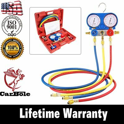 R134A HVAC A/C Air Refrigeration Kit AC Manifold Gauge Set Brass R410A R22 +Case