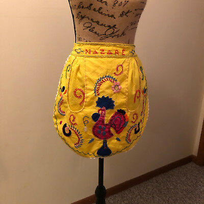 Vintage Cotton Kitchen Waist Apron Yellow Embroidery Nazare Floral Bird Colorful