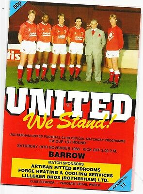 Rotherham United v Barrow FA Cup 1st Round 19/11/1988