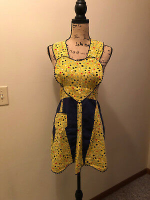 Vintage Cotton Apron Yellow Retro Pattern Sweetheart Ric Rac Border 50s 60s 70s