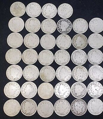 "Lot Of Forty Liberty Head ""V"" Nickels w/Readable Dates."