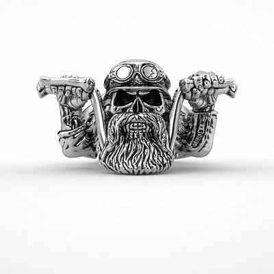 Ring Bearded Skull Motorcycle Biker Stainless Steel Black 316l Punk Rock For Men