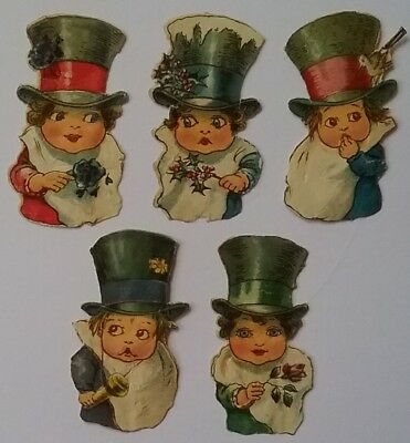 5 very cute, small Top Hatted Victorian Scraps. Approx .5&1/2×3cms.