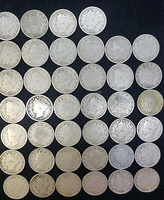 "Lot Of Forty Liberty Head ""V"" Nickels w/Readable Dates"