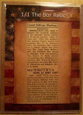 '18 Superbreak Mementos, TRUE 1/1 WOMEN'S SUFFRAGE NEWSPAPER RELIC GREAT HISTORY